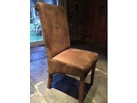 Ten Brown Faux Suede Dining Chairs