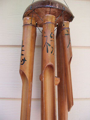 Bamboo Wind Chimes Painted Chinese Symbols Half Coco Top FREE SHIP