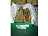 Clarks Rousham gents shoes, Khaki Nubuck, size 9 (43), never worn , in original box and labels