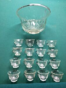 Vintage Glass Punch Bowl with 12 matching cup