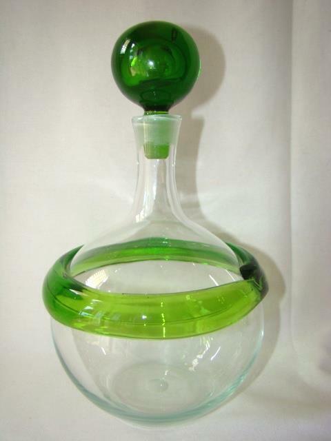 Mid-Century BLENKO Glass Decanter w/Applied Green Ring, Signed Joel Philip Myers