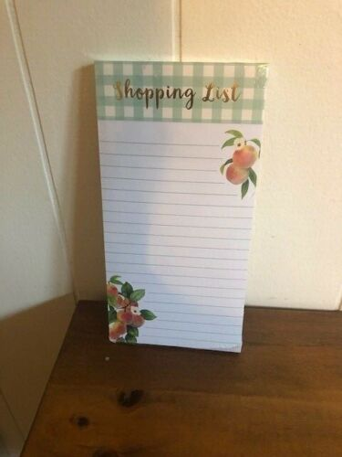 """NEW Punch Studio PEACHES Magnetic Note Pad """"Shopping List"""" Peach Lovers"""