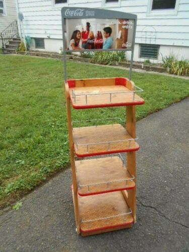 Coca Cola Coke 4 Tier Wooden Advertising Store Display Stand Rack/PICKUP ONLY
