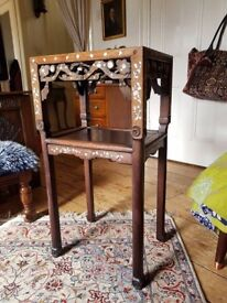 Antique Chinese Hongmu two tier marble top inlaid table