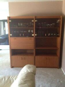 Teak/glass wall unit with bar