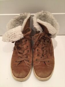 UGG sherpa lined ankle sneaker size 8 in camel suede
