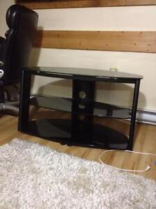 EUC Black Tempered Glass and Metal Television Stand