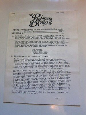 RIGHTEOUS BROTHERS Contract rider 1984 unsigned 10 pages