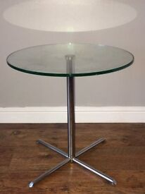 DWELL GLASS/ CHROME SIDE TABLES FOR SALE- 2 OF