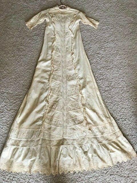 "Lovely Original, Antique Christening Gown, 47"" long"