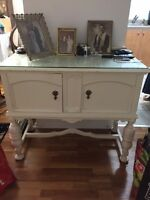 White Console Table with Glass Top (antique, in great condition)