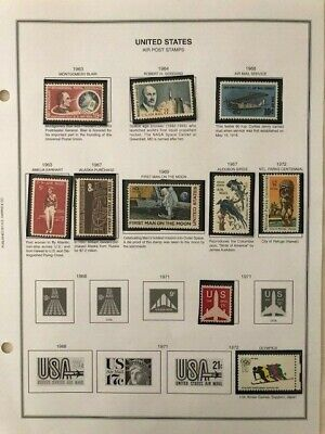 US AIR POST Stamps on H.E. Harris album page, 1963-1972