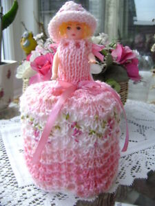 Hand Knitted Strawberry Crush Doll Toilet Roll Cover