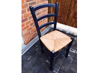 """COLLECT tomorrow for £8!! 4 wooden, """"rattan""""-seated kitchen chairs"""
