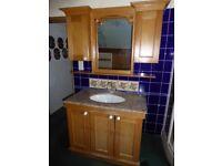 Bathroom Vanity Unit, marble countertop, basin, mirror & cupboards