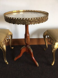 Antique French Style Side Table and two matching stools