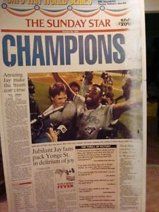 Reduced: '92-93 Jays W.S Champs Signed Star Blow Ups 7' x 5'