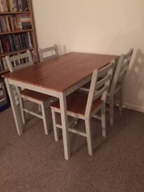 Brand new and boxed silver grey and pine table and 4 chairs