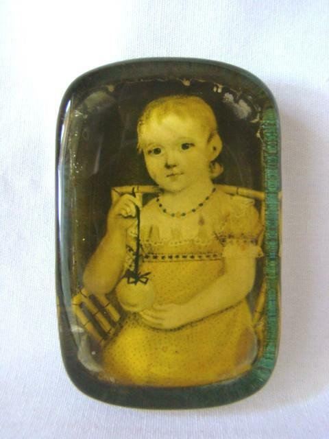 1930s Thick BLOCK PAPERWEIGHT, Antique Image Young Child, Under Glass