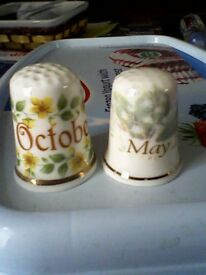 2 COLLECTABLE CHINA THIMBLES - MAY & OCTOBER MONTHS