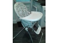 high chair by mamas and papas only used 4 times but the straps are white and need to be cleaned £10