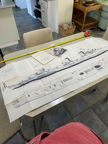 Vintage German Battleship HOCHE Z25 Ships Plans by Franco Gay Rome 1949