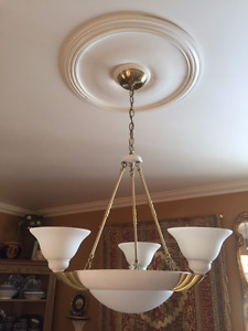 High Quality Brass and Glass 3 Arm Chandelier