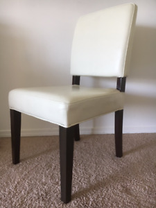 Dining Chairs - Cream Leather with Brown wooden legs