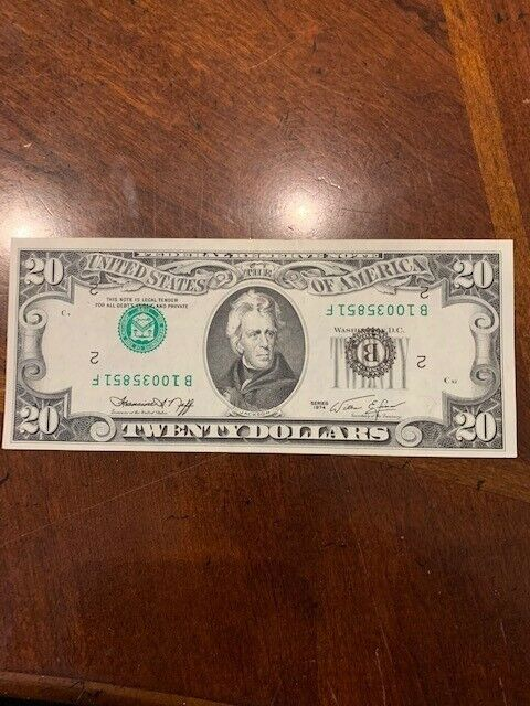 1974 Series $20 Small Size Federal Reserve Note - Inverted Serial Number Error