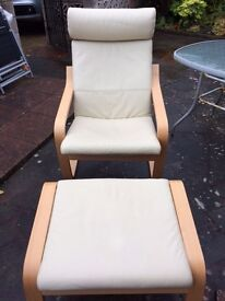 Cream Ikea Leather Chair and Footstool