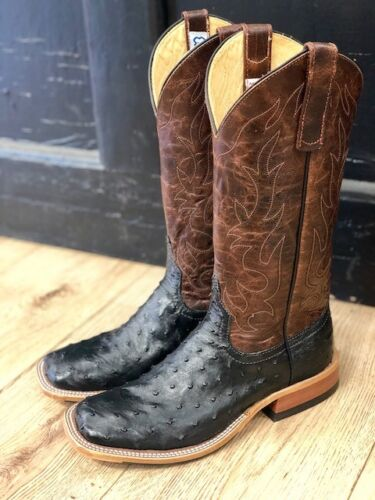 Anderson, Bean, Mens, Brass, &, Black, Full, Quill, Ostrich, Sq, Toe, Western, Boots, 4221M
