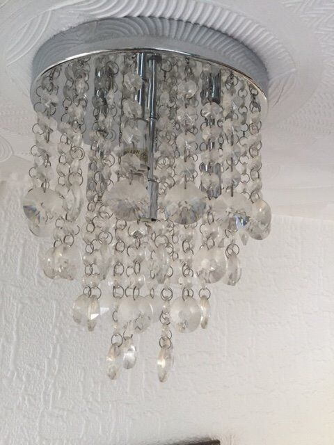 Glimmer Polished Chrome effect ceiling light with Crystal effect droplets.