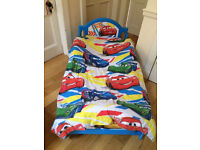 Excellent Condition Lightning McQueen Toddler Bed plus Mattress and Matching Bedding