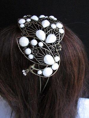 Women Headband Hair Fashion White Beads Rhinestones Big Peacock Gold Accessories