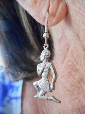 Authentic Vintage Silver Tone Egyptian God Dangle Pierced Earrings