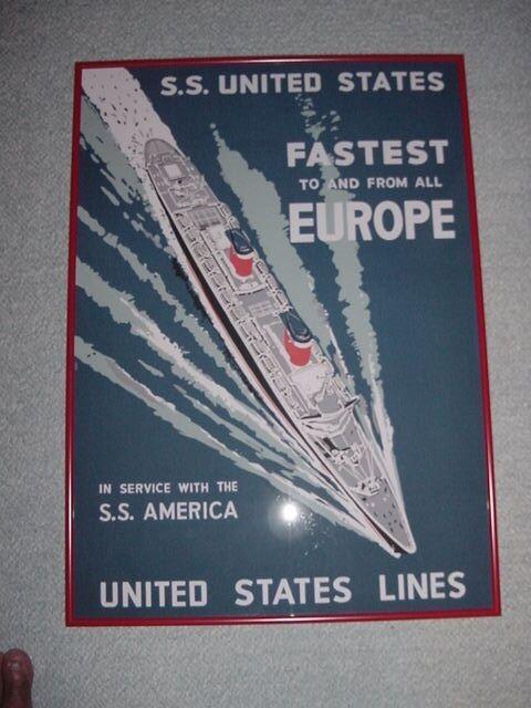 SS UNITED STATES LINES  Travel Agency Poster  /  Custom Framing Included