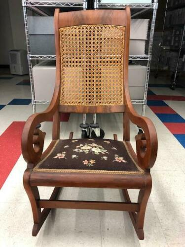 Antique Eastlake (?) Victorian Cane Wood Primitive Upholstered Rocking Chair