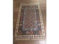 Turkish Kilim-style wool rug in shades of brown & blue