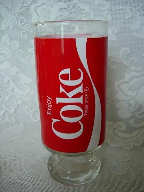 Unusual Vintage Collectible Red & White Coca Cola / Coke Glass / Tumbler