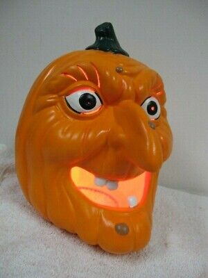 "RARE CERAMIC 10"" WITCH FACE WART TEETH PUMPKIN LIGHTED JACK O LANTERN"