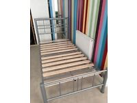 Single grey Metal Bed Frame with Wooden Slats *Good Condition*