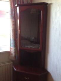 Corner Cabinet, Dark Wood