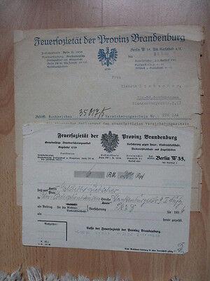 FEUERSOZIETÄT der PROVINZ BRANDENBURG VERSICHERUNGSSCHEIN u. QUITTUNG 1936