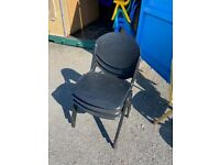 3 Black Plastic Chairs