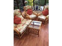 Conservatory Furniture Set - 2 seater settle, 2 chairs, coffee table - cane/cotton - Good condition