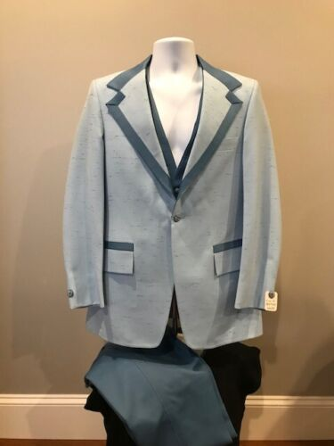 Vintage 1970s Light Blue Tuxedo Jacket, Pants & Vest 40R - After Six Formalcrest