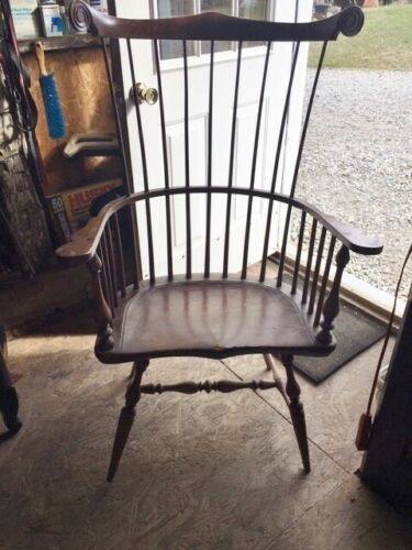 HIGH BACK  WINDSOR  arm CHAIR  nice 25 inch wide seat 49 inch back