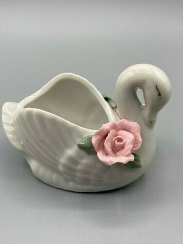 Vintage Porcelain Mini Trinket Dish, Swan with Pink Roses/Gold Accent Dainty