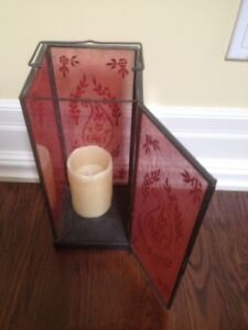 Glass Metal Candle Holder Red Design Lantern Table Room Dining M