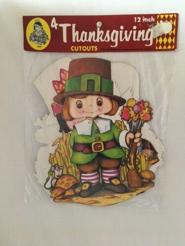 Vintage 1978 Beistle Thanksgiving Pilgrim Native Diecut Decorations New in Pkg.